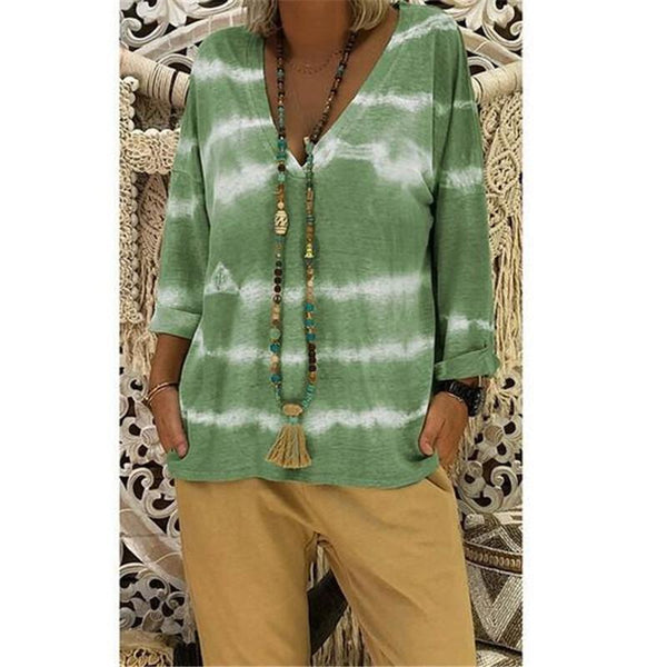 Loose Print V-Neck Long Sleeve Plus Size Casual T-Shirt