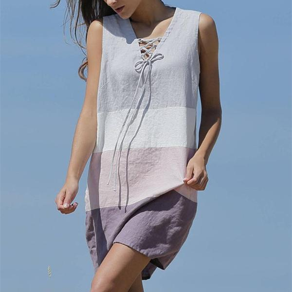 Loose Contrast Color Sleeveless Dress