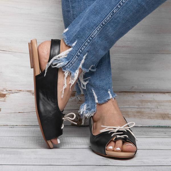 Women's Summer Elastic Band Lace-Up Peep Toe Sandals