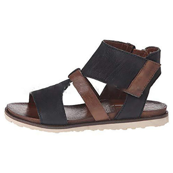 Cross Trap Flat Zipper Sandals