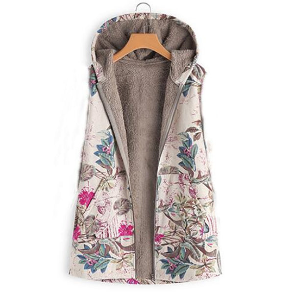 Hooded Printed Sleeveless Coats