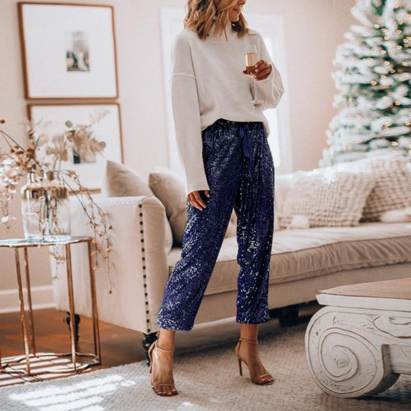 Women Loose Sequin Drawstring Casual Pants