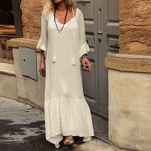 Flare Sleeve Plus Size Ruffle Hem Maxi Dress