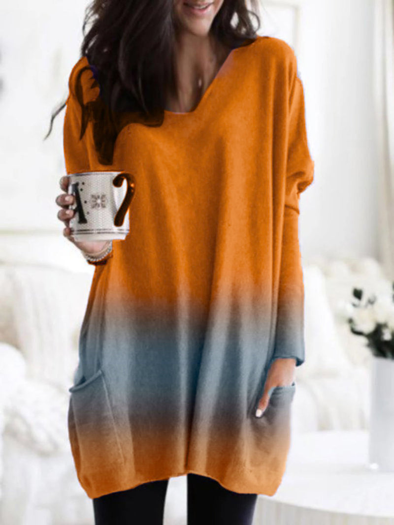 V-neck Loose Gradient Long Sleeved Top