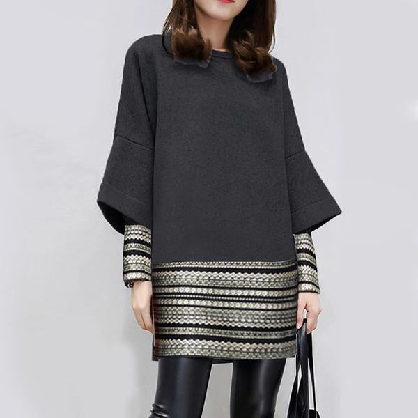 Graphic Long Sleeve Paneled Dresses