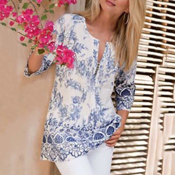 Vacation Bohemian Printed 1/2 Sleeve Blouse