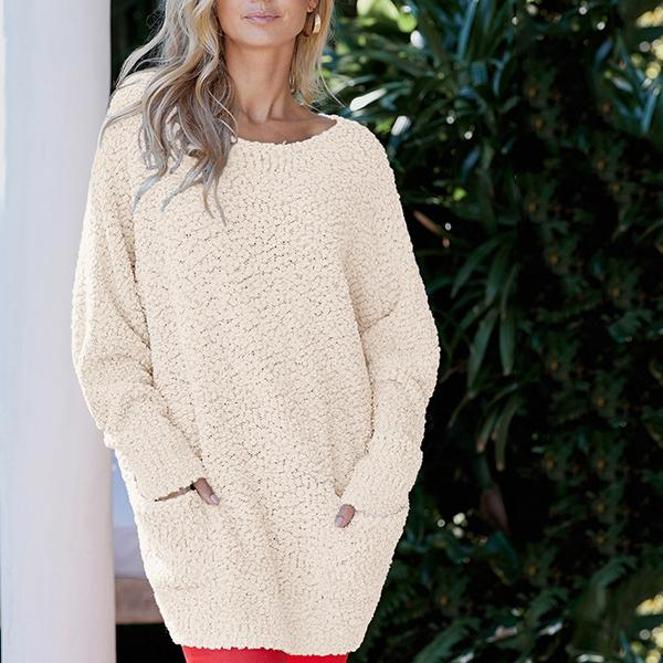 Women's Solid Color Round Neck Pullover Long Sleeve Sweater
