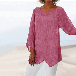 Casual V-Neck 3/4 Sleeve Solid Color Blouse