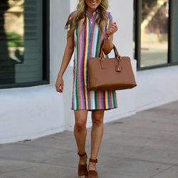 Multicolor Stripe Lapel Neck Dress