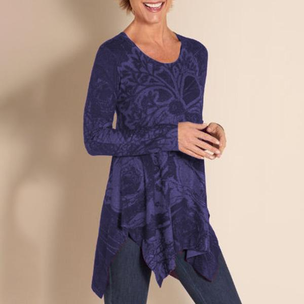 Casual Irregular Printed Round-Neck Blouses