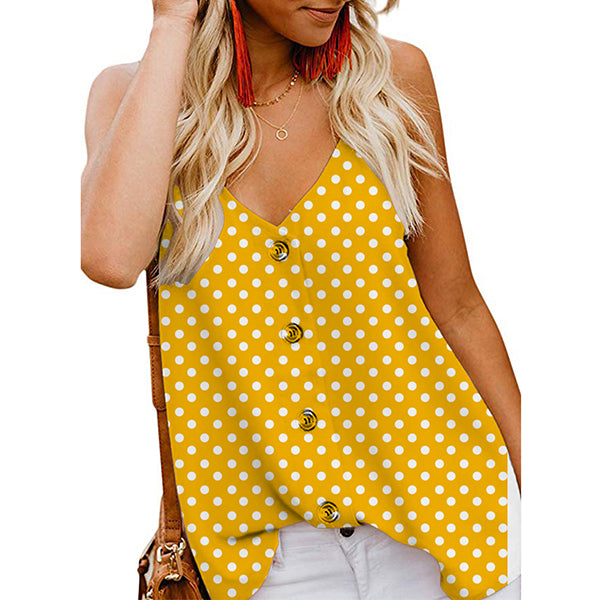 Casual V Neck Polka Dot Vests