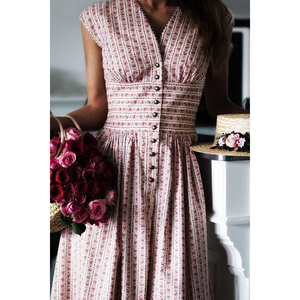 Vintage Print Sleeveless Swing Mini Dresses