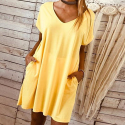 Summer Solid Puls Size Loose Round Neck Casual Dress