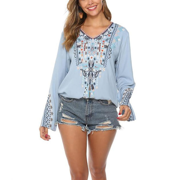 Printed Long Sleeve Casual Ladies Blouses