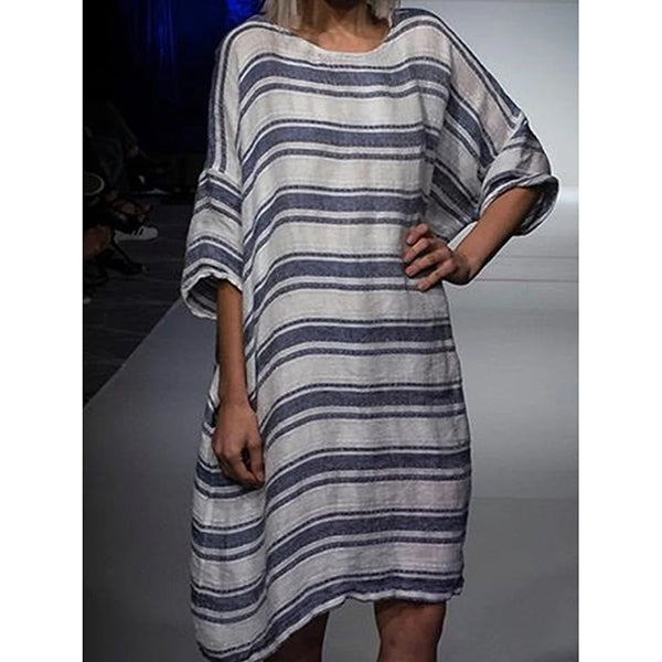 Casual Plus Size Striped Tops Tunic Maxi Women Dresses