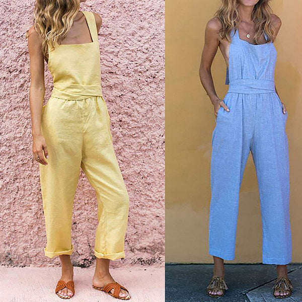 Casual Halter Neck Backless Jumpsuits