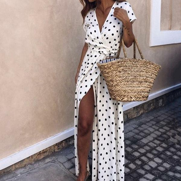 Sexy Polka Dot V Neck Front Split Dress