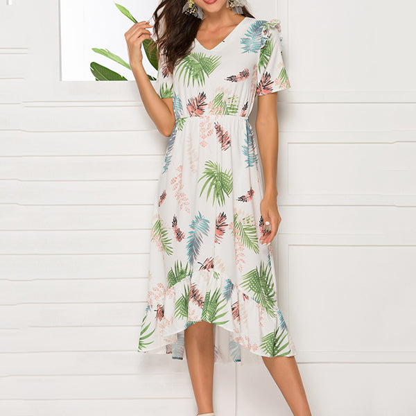 Irregular Flower Printed Loose Vacation Dress