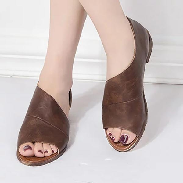 PU Sandals Casual Comfort Peep Top Shoes