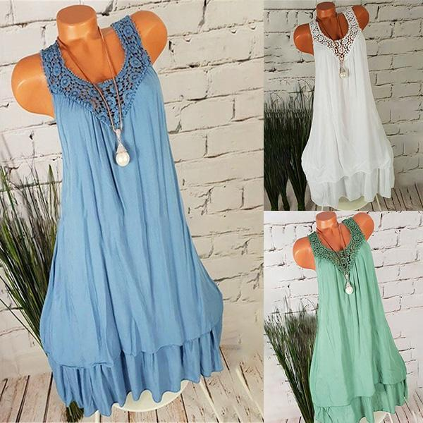 Casual Hollow-out Double-layer Solid Color Dresses