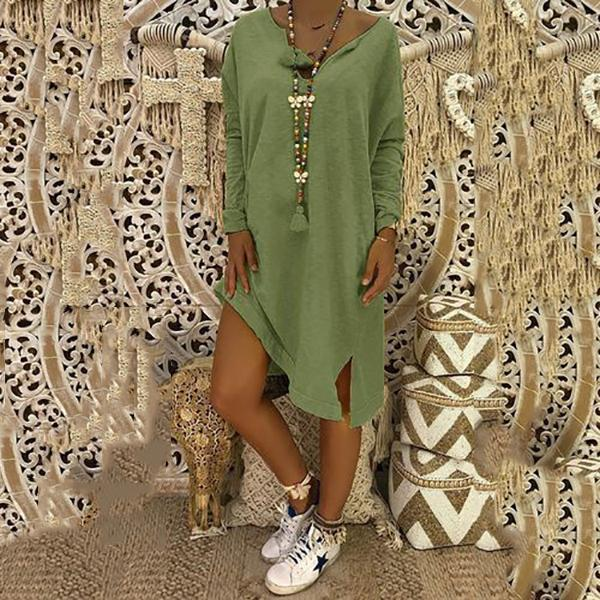 Boho Casual Loose Solid Color Linen Dress