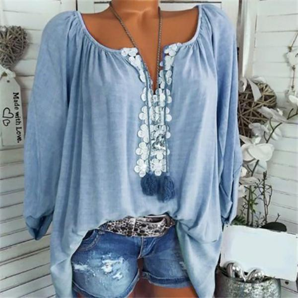 Women Casual Solid Color Floral V-Neck Blouse
