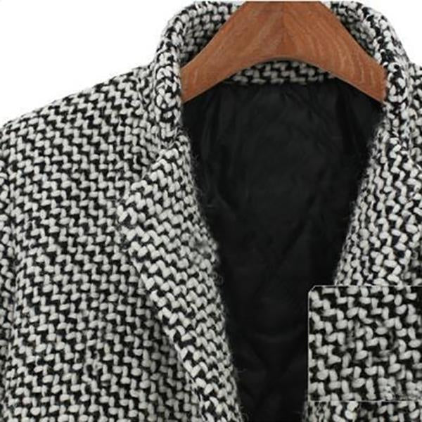 Elegant Houndstooth Slim Thick Coat