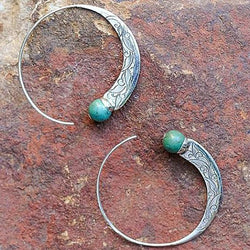 Antique Turquoise Gemstone Hoop Dangle Stud Earrings
