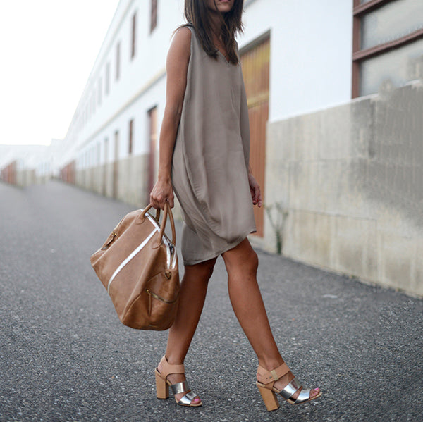 Daily Solid Color Sleeveless Dress