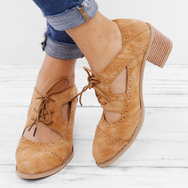 Cutout Lace-up Low Heel Oxford Shoes Women Daily Loafers