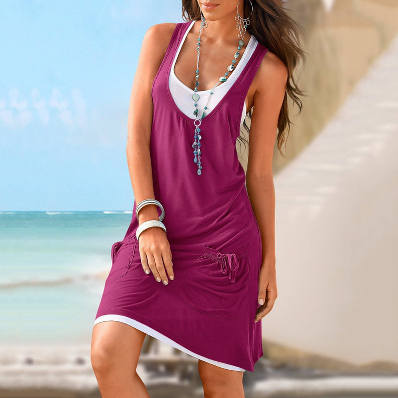 Two Piece Women Date Cotton-blend Sleeveless Paneled Summer Dress