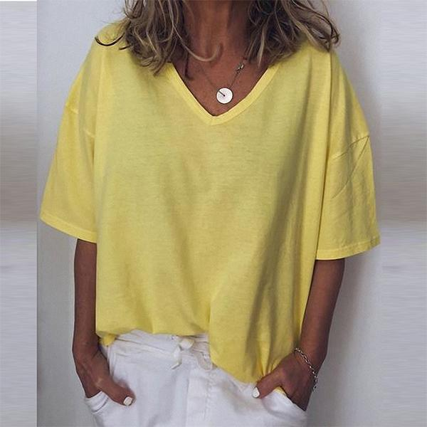 Women Casual V-neck T-shirts For Summer
