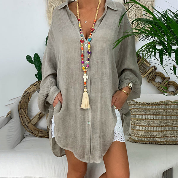 Casual Solid Color Lapel Neck Blouse