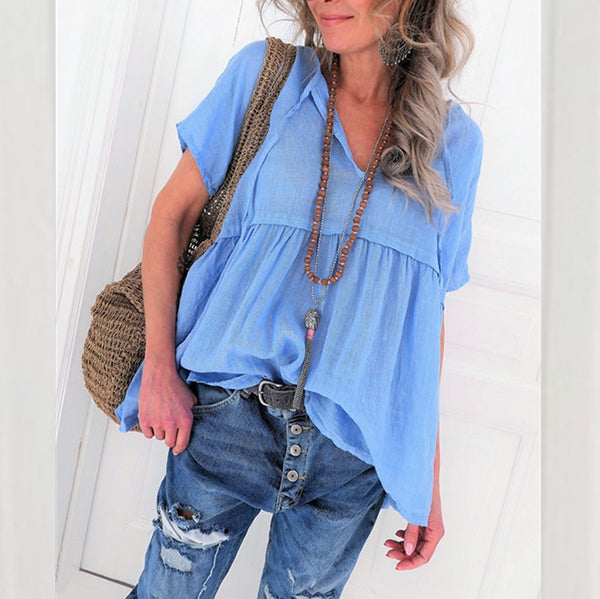 Loose Solid Color V Neck Blouse