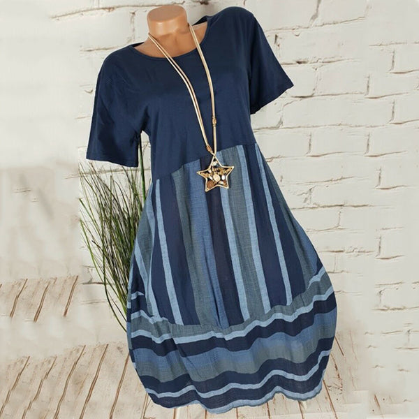 Casual Round Neck Striped Shift Dress