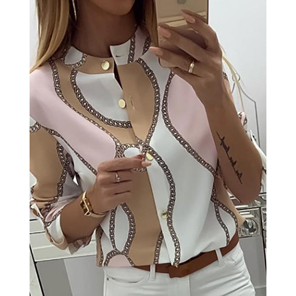 Casual Women Chains Print Button Design Blouse