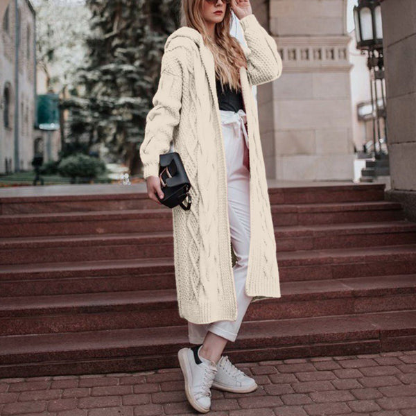 Casual Winter Plain Plus Size Sweater Coats