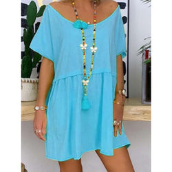 Large Size Casual Round Neck Solid Color Dress