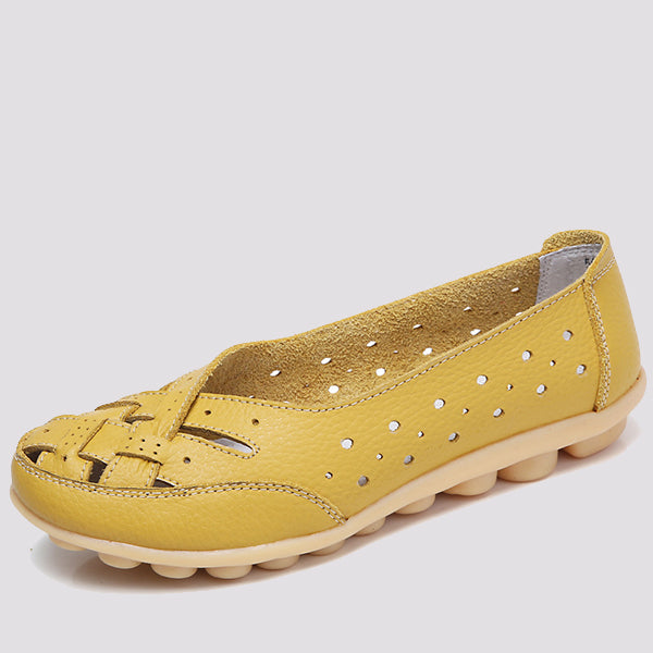 Solid Color Across Strap Hollow Flat Shoes