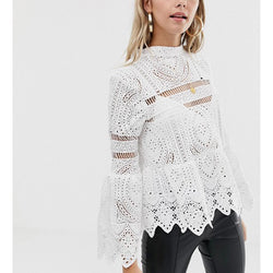 Casual Bell Sleeve Hollowed-out Blouses