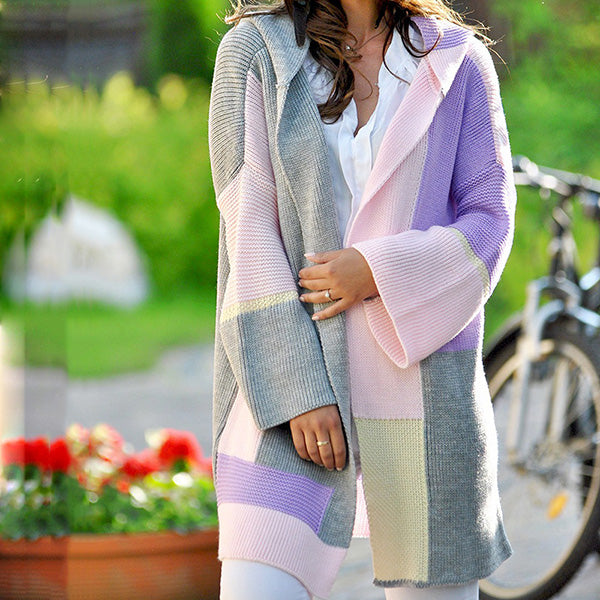 Daily Long Sleeve Color Block Coats