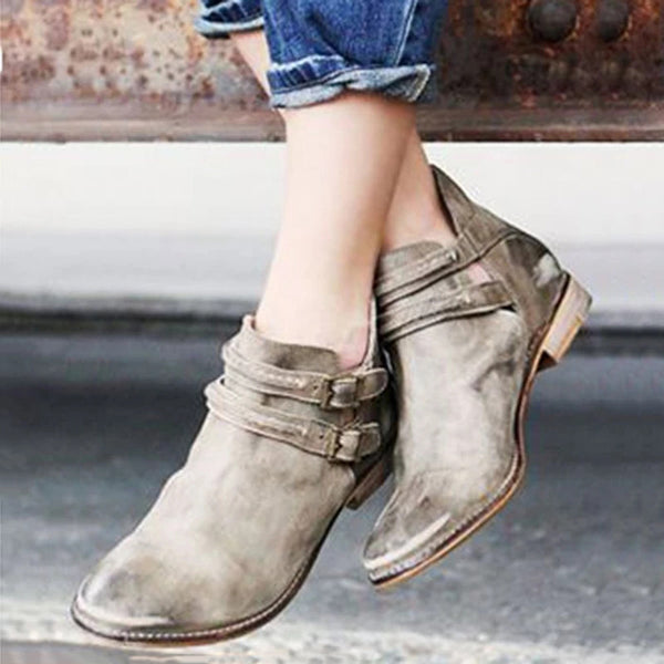 Women's Double-Breasted Ankle Casual Booties
