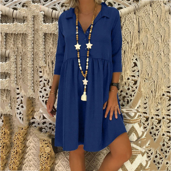 Loose V-neck Casual Solid Color Women Dress