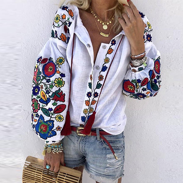 Loose Floral Print Buttoned Casual Blouse