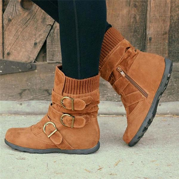 Low-Calf Knitted Zipper Slip On Boots