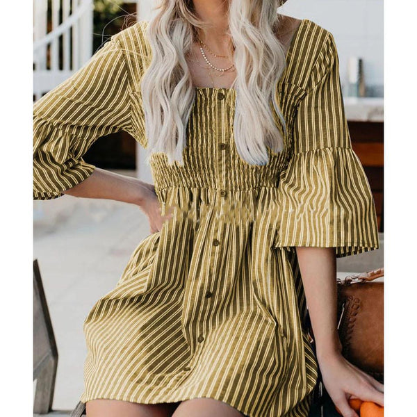Plus Size Fashion Round NNeck Striped Dress