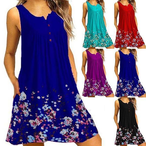 Womens Summer Fashion Clothes Plus Size Sleeveless Floral Dress