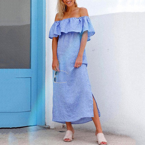 Off-The-Shoulder Maxi Solid Color Dress