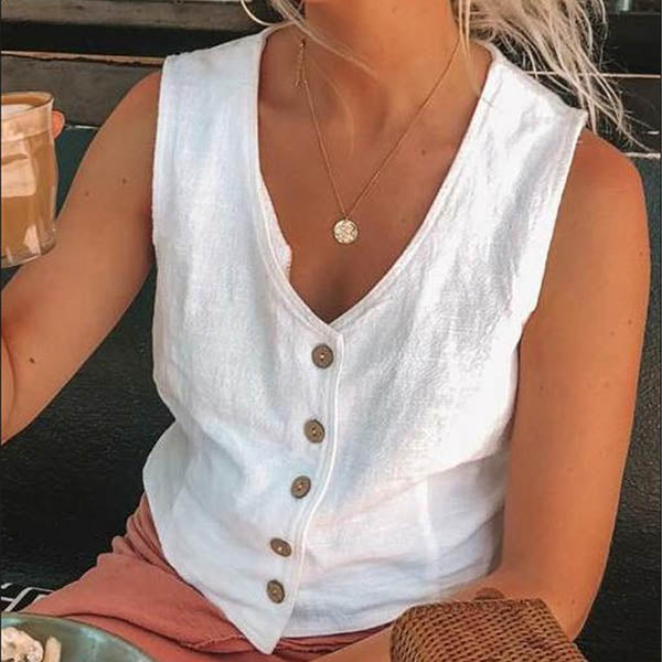 Casual Solid Color Button Sleeveless Blouse