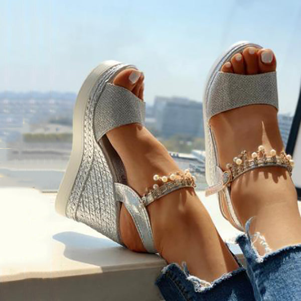 Fashion Shining Wedge Platform Sandals